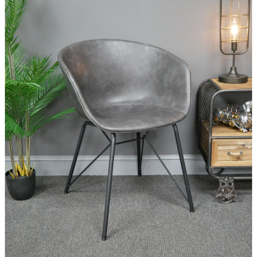 Hoxton Industrial Grey PU Leather Bucket Chairs - Set of 4