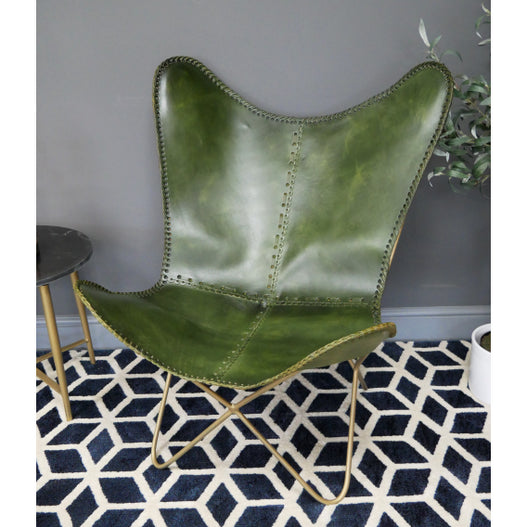 Hoxton Industrial Green Leather Butterfly Chair
