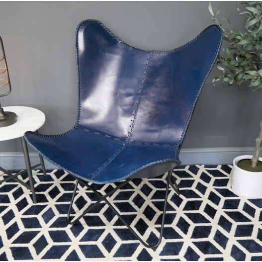 Hoxton Industrial Blue Leather Butterfly Chair