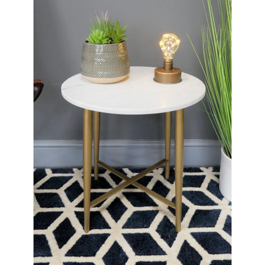 Retro 60's Style Round White Marble Side Table - Diana