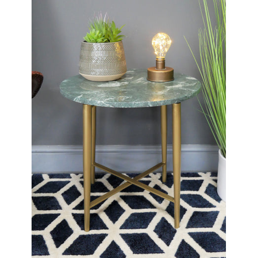 Retro 60's Style Round Green Marble Side Table - Diana
