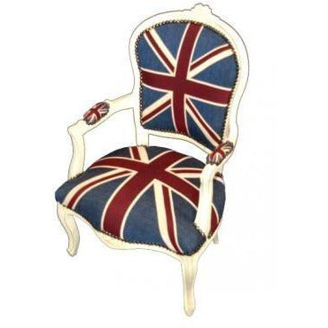 Union jack cream frame french arm chair