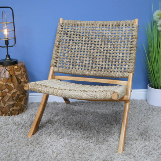 Hoxton Industrial Teak Folding Lazy Low Chair
