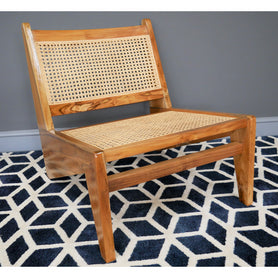 Hoxton Industrial Teak and Rattan Relaxed Chair