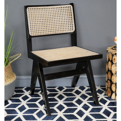Hoxton Industrial Black Teak and Rattan Chair - Set of 2