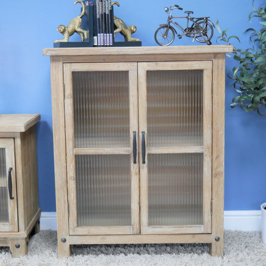 Beach House Sun Bleached Fluted Glass Display Cupboard  (76 x 36 x 92cm)