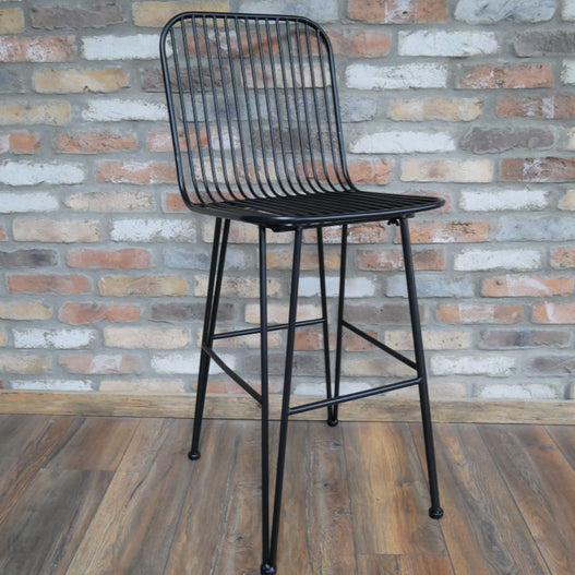 Hoxton Black Steel Industrial Retro Wirework Style Bar Stool Set of 2