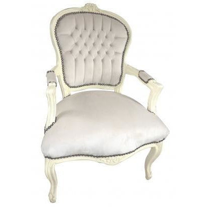 Cream velvet cream frame french arm chair