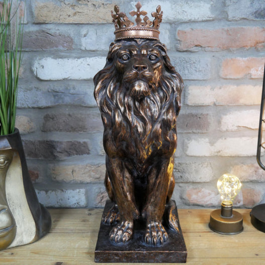 Crowned Lion Antique Bronze Effect Large Sculpture Figure