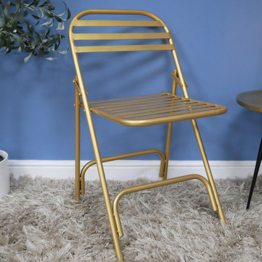 Retro Industrial Metal Folding Gold Chairs - Set of 2