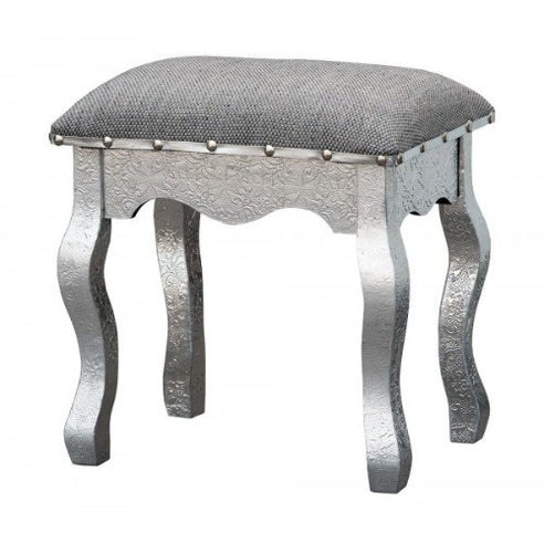 Silver embossed metal dressing table stool