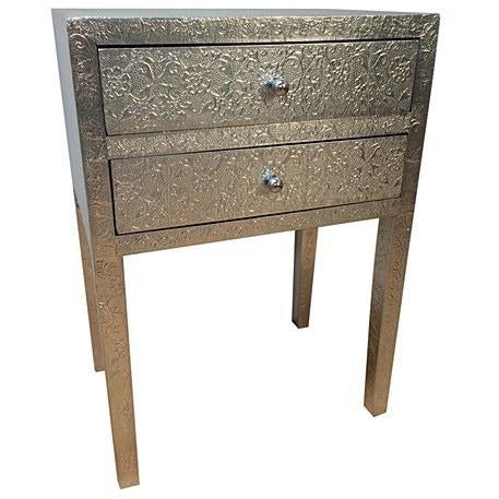Silver embossed metal deco bedside 2 drawer chest table