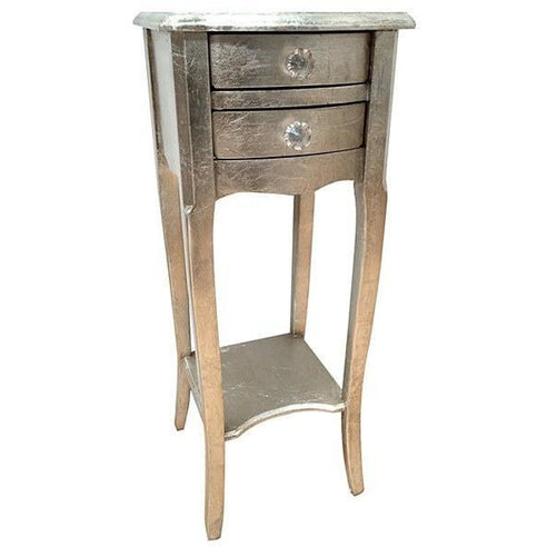Antique silver leaf vintage french bedside table