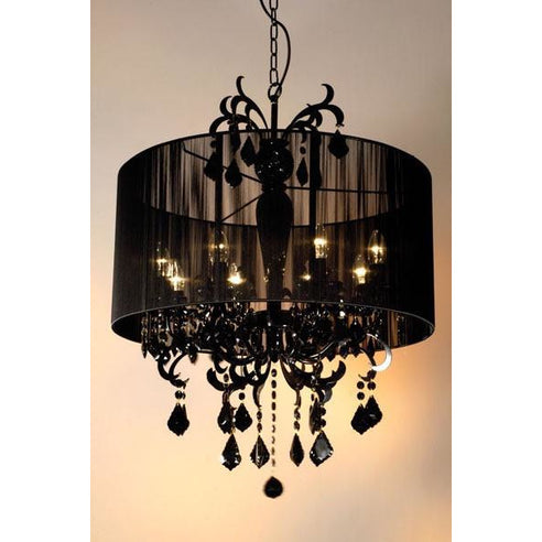 Shabby chic Suzanne black chandelier with shade 8 arm