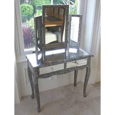 Blackened silver embossed metal mirrored dressing table set