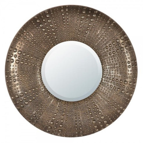 Large round antique gold metal sun mirror
