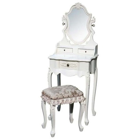Vintage Antique White Small Dressing Table Mirror Stool Set