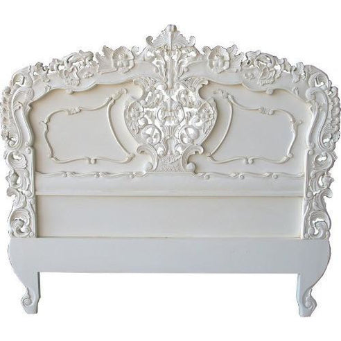 Antique white kingsize rococo headboard