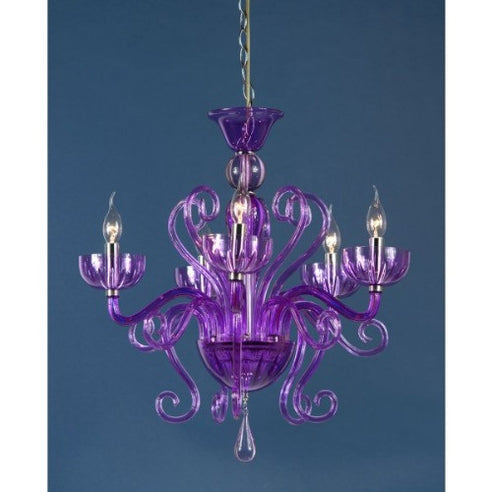 Shabby Chic French Style Purple Acrylic Claudia Chandelier - 5 Arms (Ceiling Light)