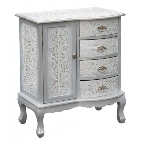 Frosted silver embossed metal cabinet