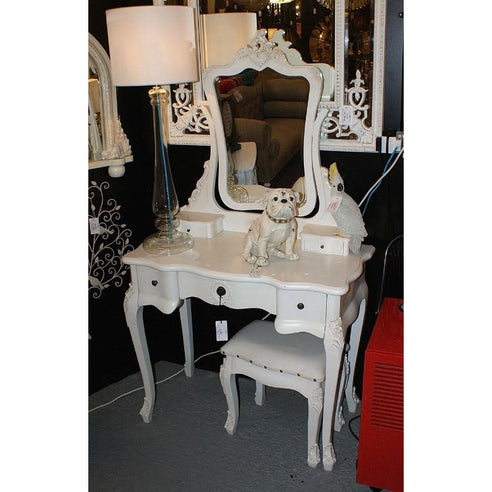 Vintage cream dressing table, mirror and stool set