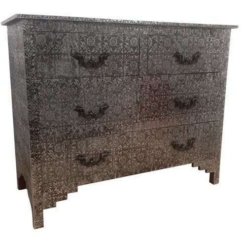 Blackened silver large embossed metal chest 4 drawers