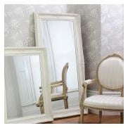 Cream french baroque floor leaner mirror - Harrow
