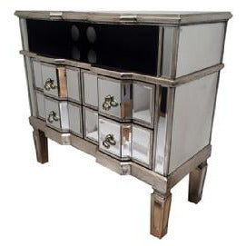 Venetian Glass Vintage Glam Mirrored Silver Gilded TV Media Unit (82 x 37 x 76cm)