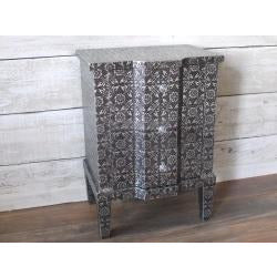 Blackened Silver Embossed Side Table with Drawers (48 x 36 x 68cm)