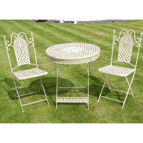 White Metal Folding Bistro Table and Chair Set