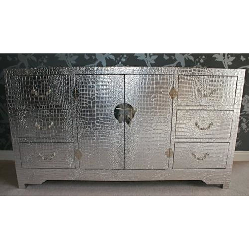 Silver mock croc chest cabinet
