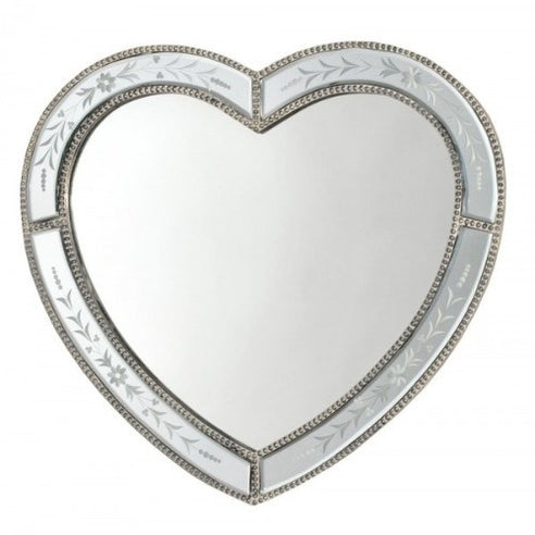 Venetian glass heart etched mirror