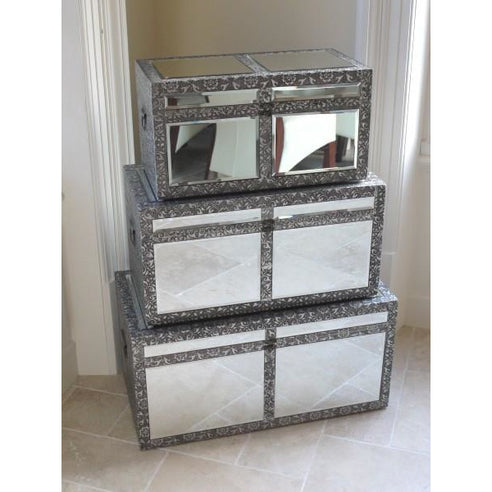 Blackened silver embossed metal mirrored trunk set