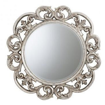 Silver french rococo large round mirror - Chartwell