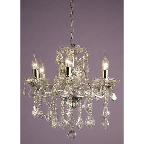 Shabby chic laura silver chandelier 6 arm