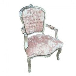 Dusty Pink Diamante Crushed Velvet French 'Louis Style' Armchair with Silver Gilt Frame