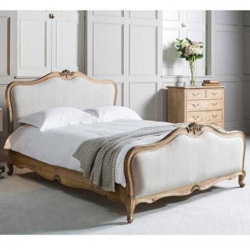 Weathered Mindy Ash 'Chic Chalk' French Kingsize Bed (Linen panels, 5')