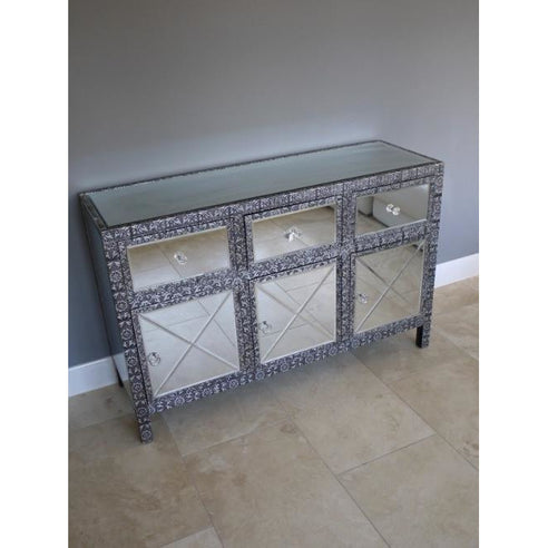 Blackened silver embossed mirrored sideboard