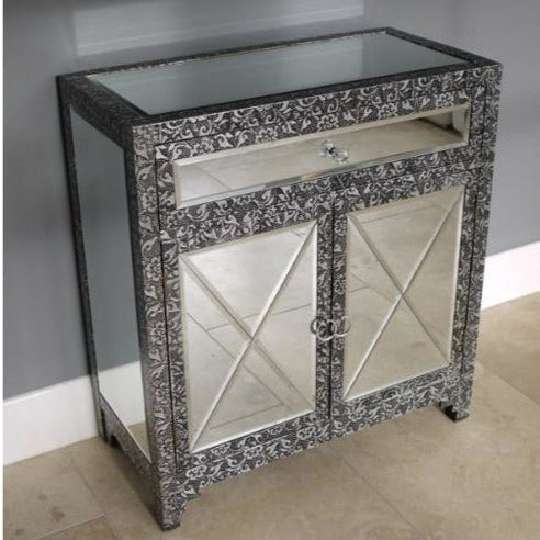 Blackened silver embossed mirrored small sideboard