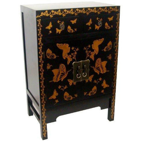 Oriental black and gold cabinet with drawers