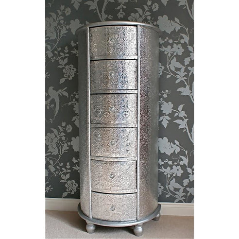 Silver embossed metal tallboy chest of drawers