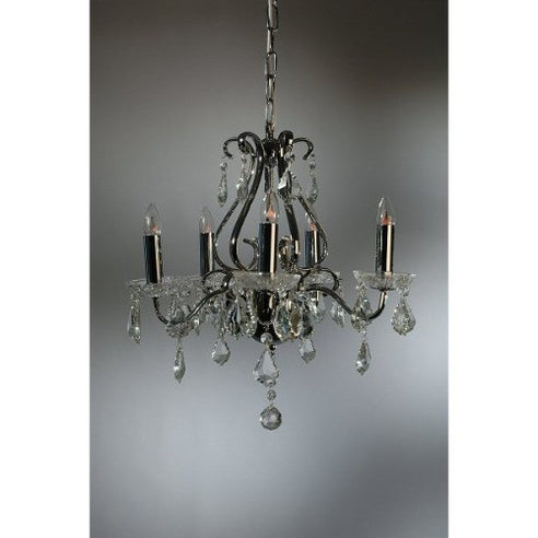 Shabby chic cut glass Carol chrome chandelier 5 arm