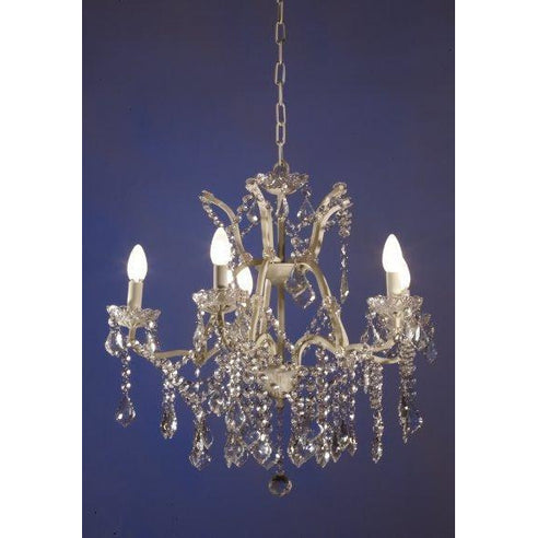 Shabby chic laura cream chandelier 5 arm