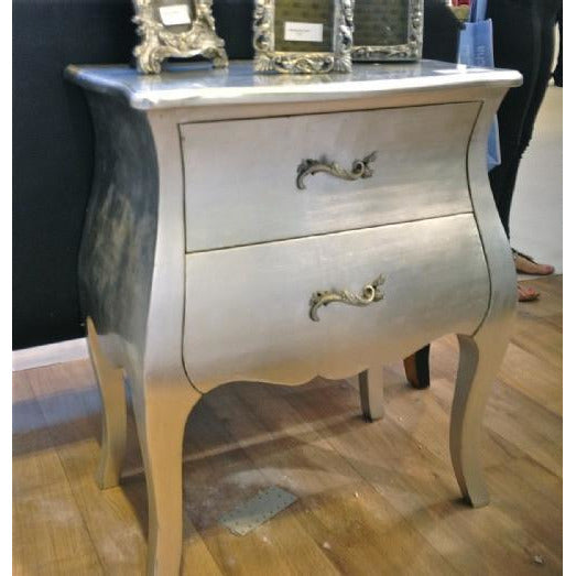 Silver gilt french bombe bedside table