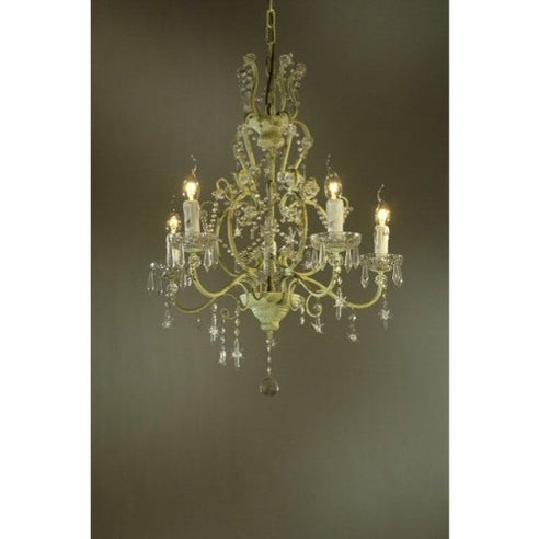Shabby chic Emily cream deep chandelier 5 arm