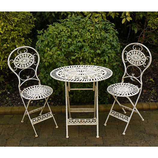 White Oval Metal Folding Bistro Garden Table and 2 Chair Set