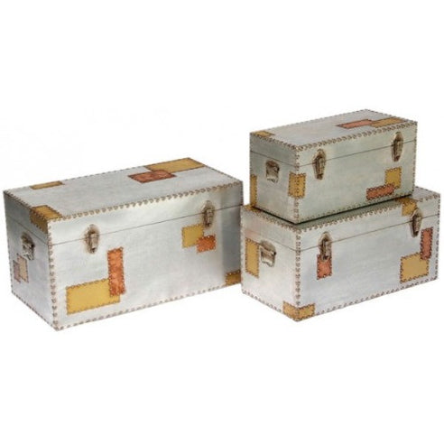 Silver and copper industrial aluminium trunk set