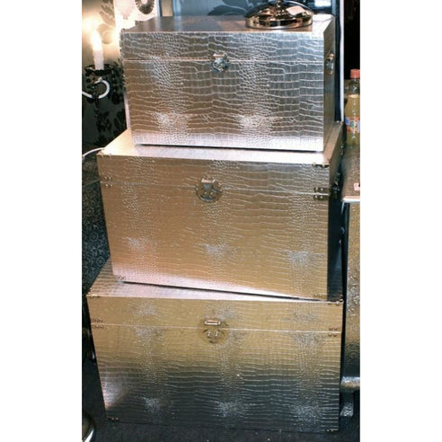Mock croc silver storage chests trunks set of 3
