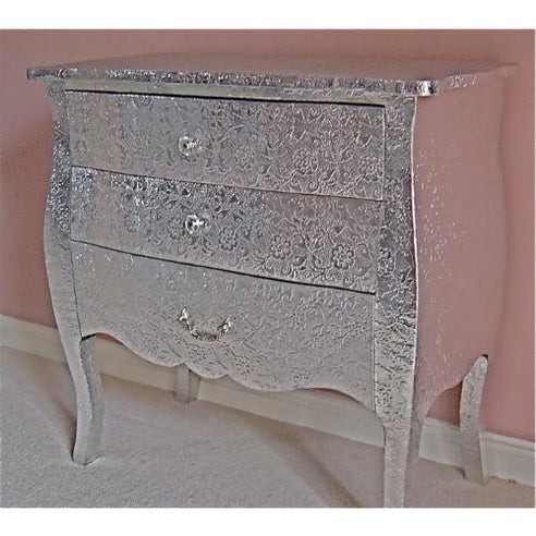 Silver embossed metal chest of 3 drawers