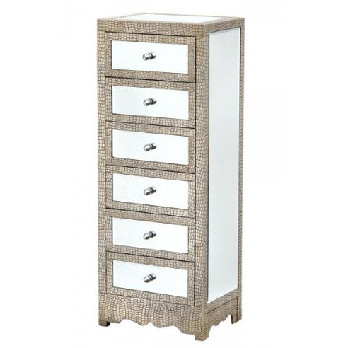 Mock croc mirrored silver tallboy chest of drawers